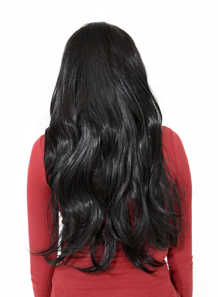 Emma Long Wavy Half Head Wig In Natural Black (#1B)