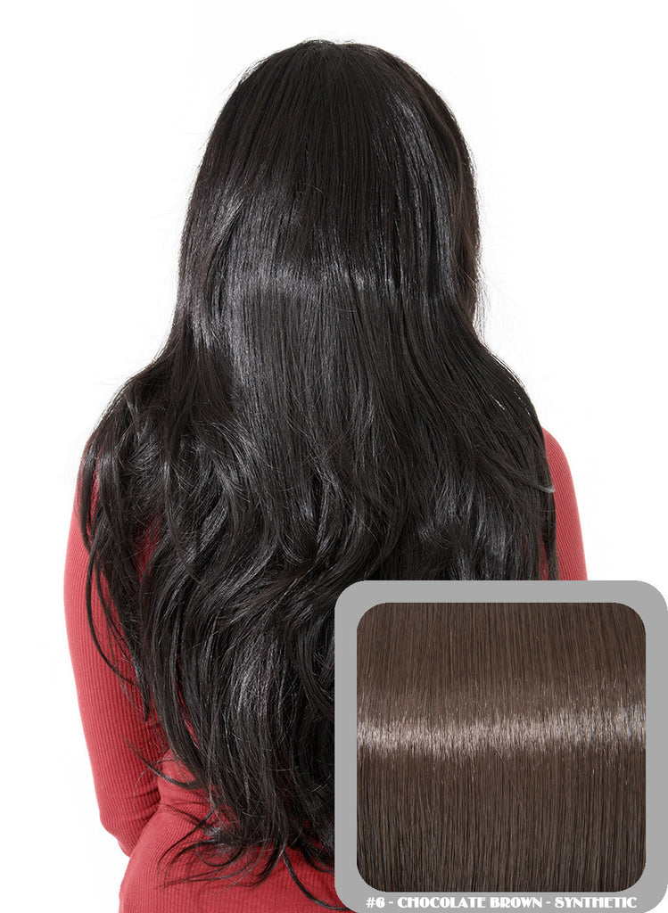 Emma Long Wavy Half Head Wig In Chocolate Brown (#6)