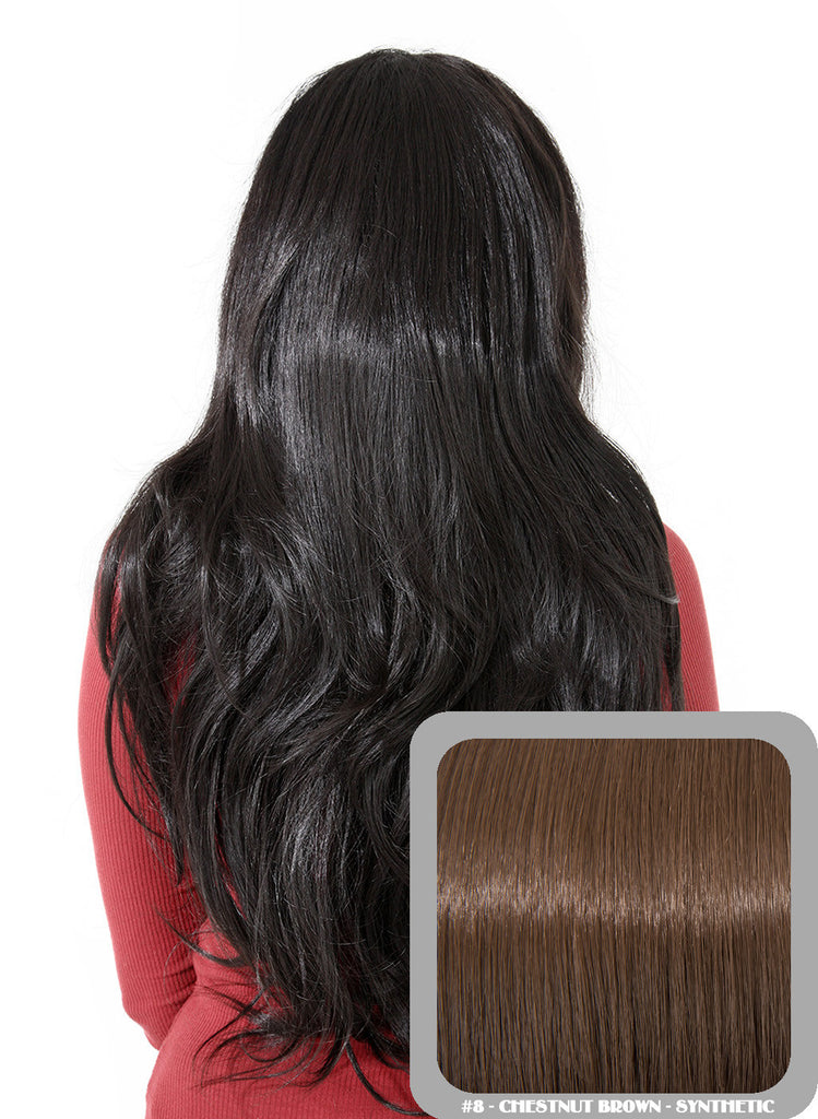 Emma Long Wavy Half Head Wig In Chestnut Brown (#8)
