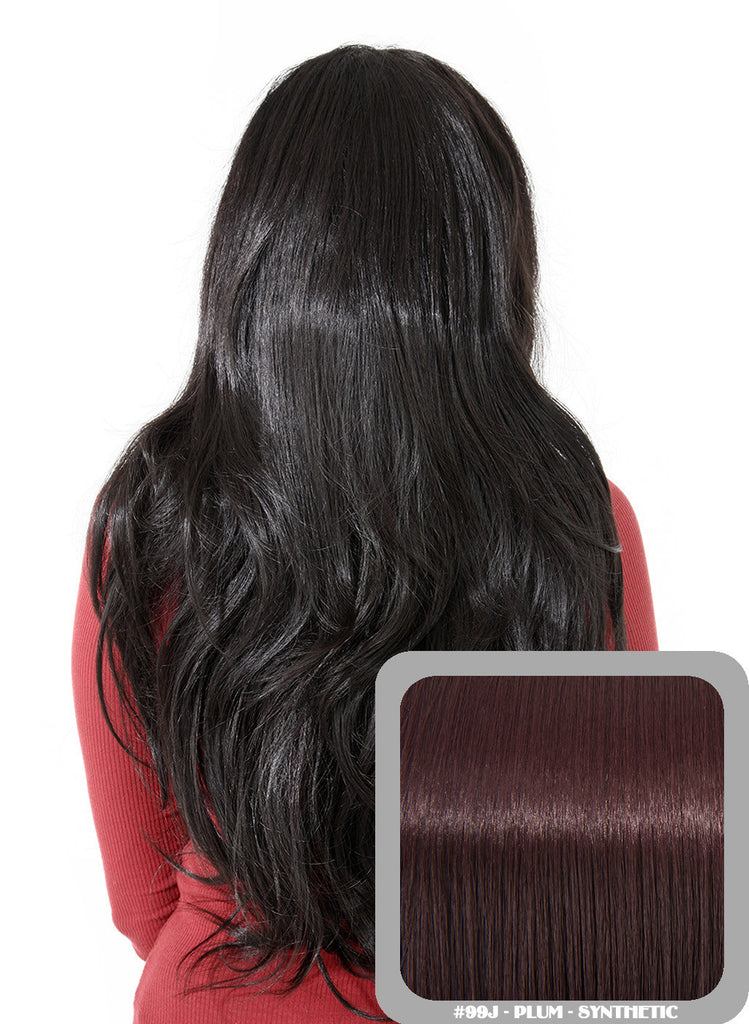 Emma Long Wavy Half Head Wig In Plum (#1B/99J)