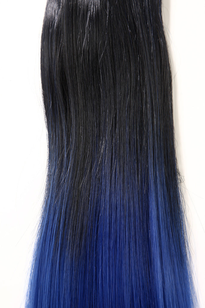 Dip Dye Straight Ponytail in Natural Black / Electric Blue (#1BTTBlue)