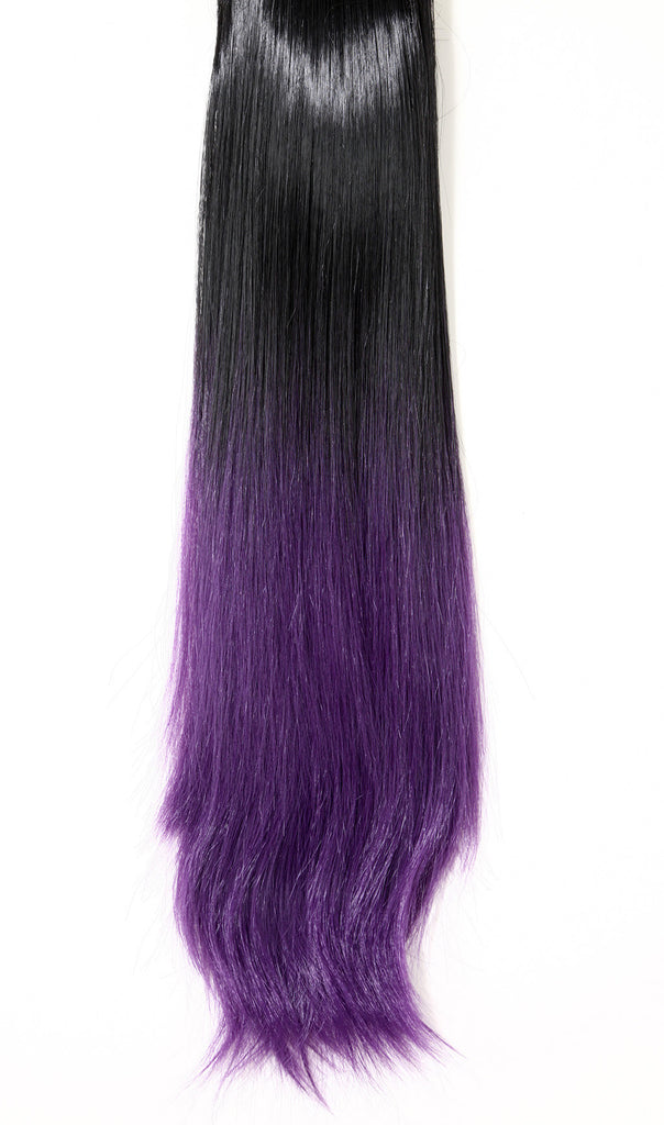 Dip Dye Straight Ponytail in Natural Black / Purple (#1BTTPurple)