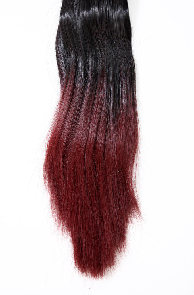 Dip Dye Straight Ponytail in Darkest Brown / Burgundy (#2TT118)