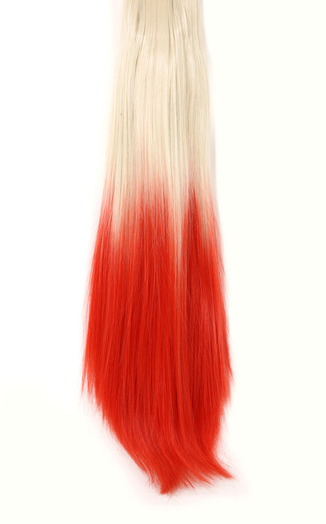 Dip Dye Straight Ponytail in Pure Blonde / Red (#613TTRed)