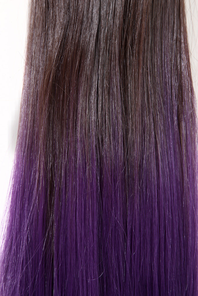 Dip Dye Straight Ponytail in Chocolate Brown / Purple (#6TTPurple)