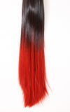 Dip Dye Straight Ponytail in Chocolate Brown / Red (#6TTRed) - Dolled Up Hair Extensions - 1