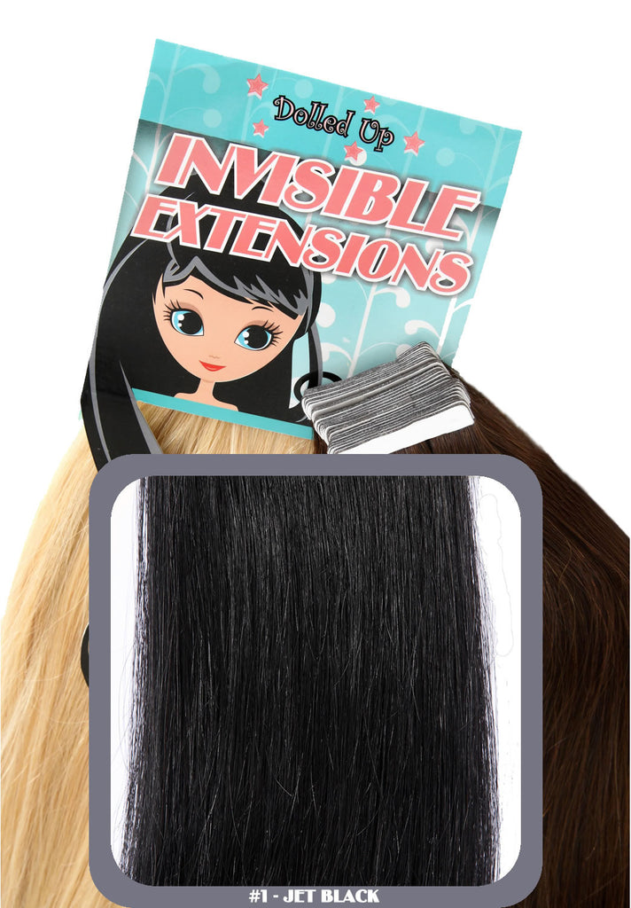 "18"" Remy Human Remy Hair Invisible Tape Extensions 75g in Jet Black (#1)"