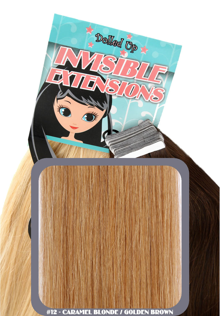 "18"" Remy Human Hair Invisible Tape Extensions 75g in Golden Brown (#12)"