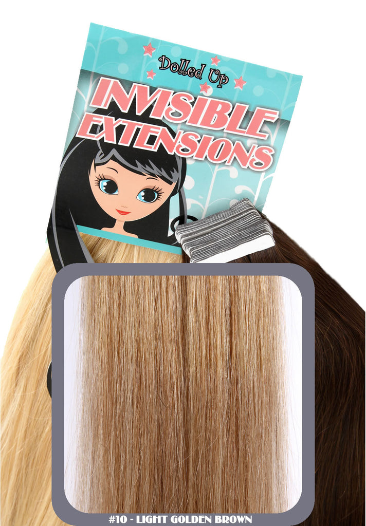"20"" Remy Human Hair Invisible Tape Extensions 75g in Light Golden Brown (#10)"