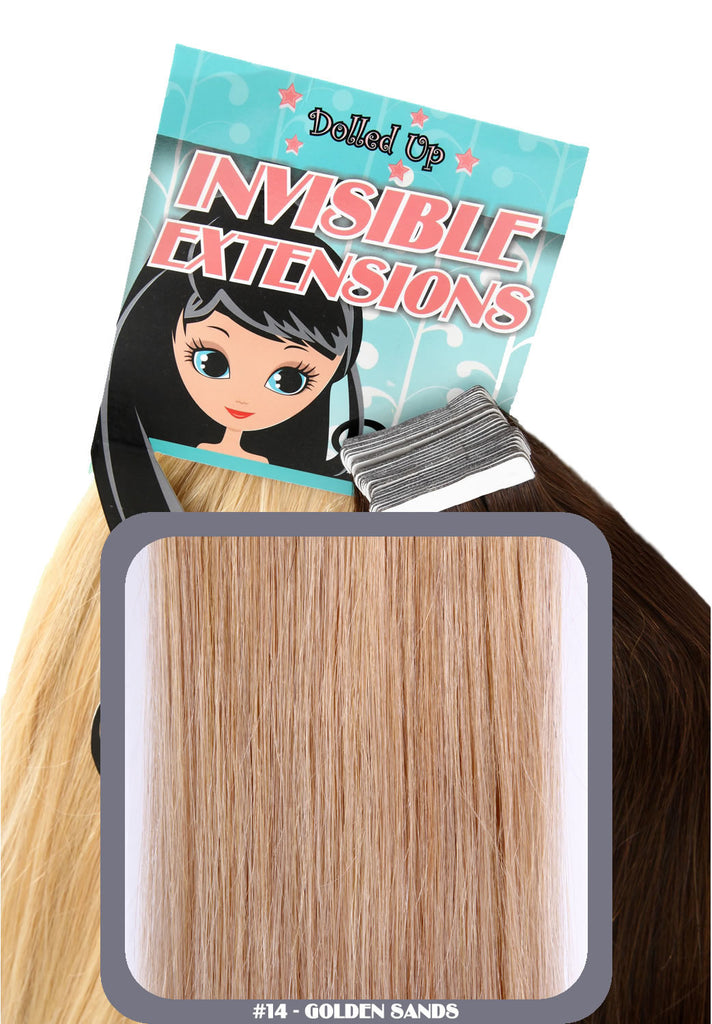 "20"" Remy Human Hair Invisible Tape Extensions 75g in Golden Sands (#14)"