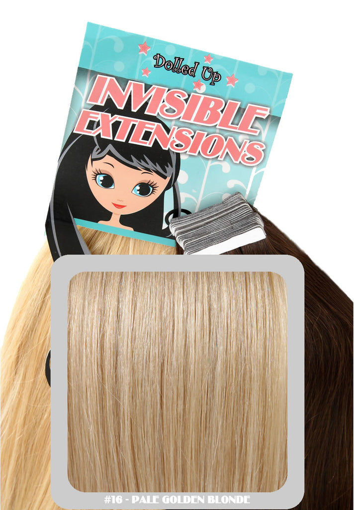 "20"" Remy Human Hair Invisible Tape Extensions 75g in Pale Golden Blonde (#16)"