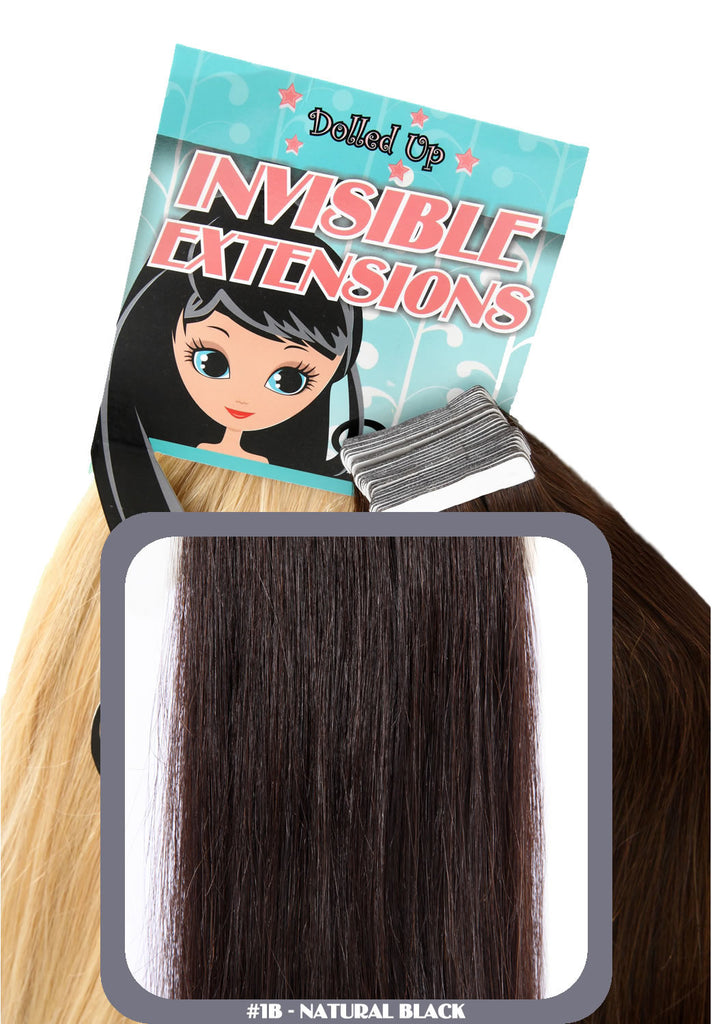 "18"" Remy Human Remy Hair Invisible Tape Extensions 75g in Natural Black (#1B)"