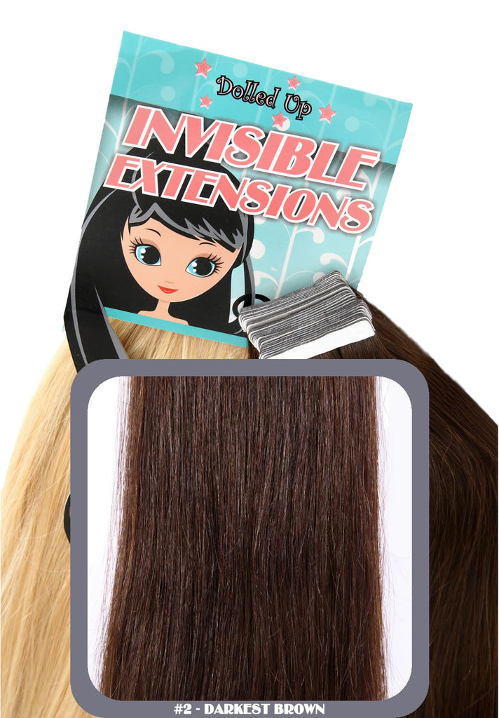 "20"" Remy Human Hair Invisible Tape Extensions 75g in Darkest Brown (#2)"