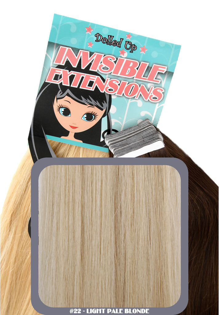 "20"" Remy Human Hair Invisible Tape Extensions 75g in Light Pale Blonde (#22)"