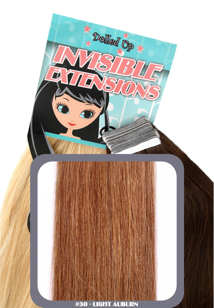 "20"" Remy Human Hair Invisible Tape Extensions 75g in Light Auburn (#30)"
