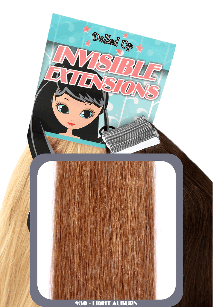 "18"" Remy Human Hair Invisible Tape Extensions 75g in Light Auburn (#30)"