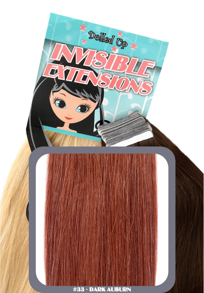 "20"" Remy Human Hair Invisible Tape Extensions 75g in Dark Auburn (#33)"