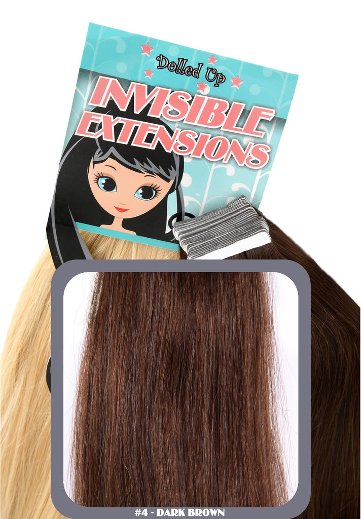 "18"" Remy Human Remy Hair Invisible Tape Extensions 75g in Dark Brown (#4)"