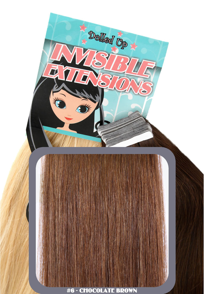 "18"" Remy Human Hair Invisible Tape Extensions 75g in Chocolate Brown (#6)"