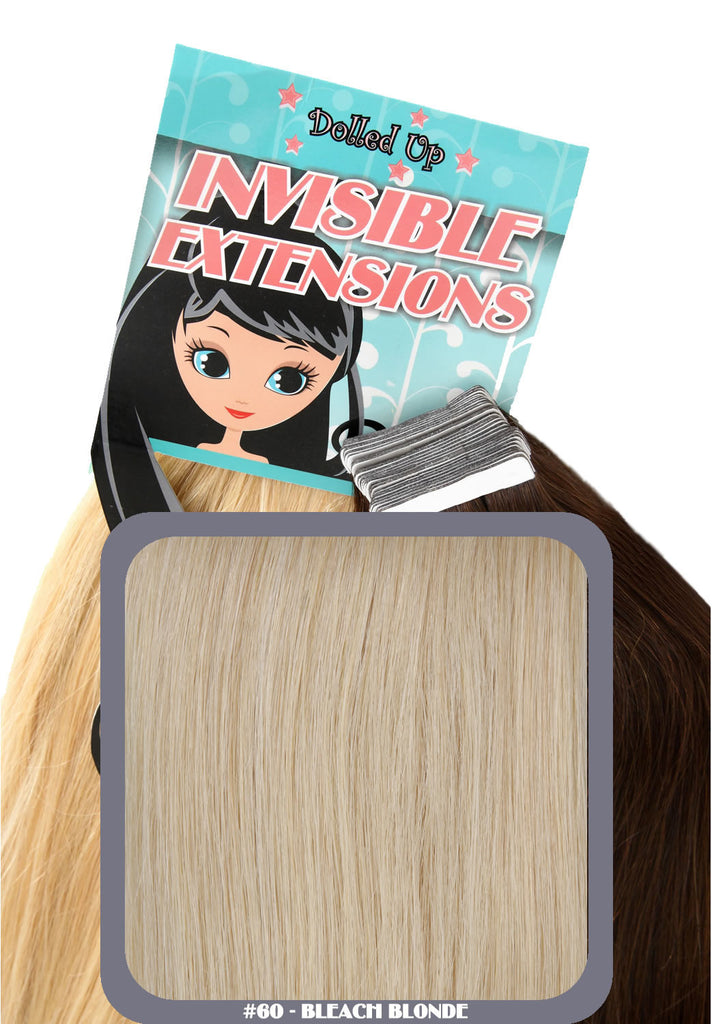 "20"" Remy Human Hair Invisible Tape Extensions 75g in Bleach Blonde (#60)"