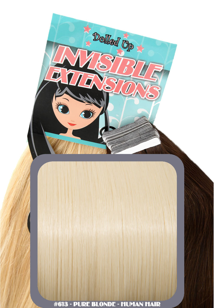 "16"" Remy Human Hair Invisible Tape Extensions 75g in Pure Blonde (#613)"