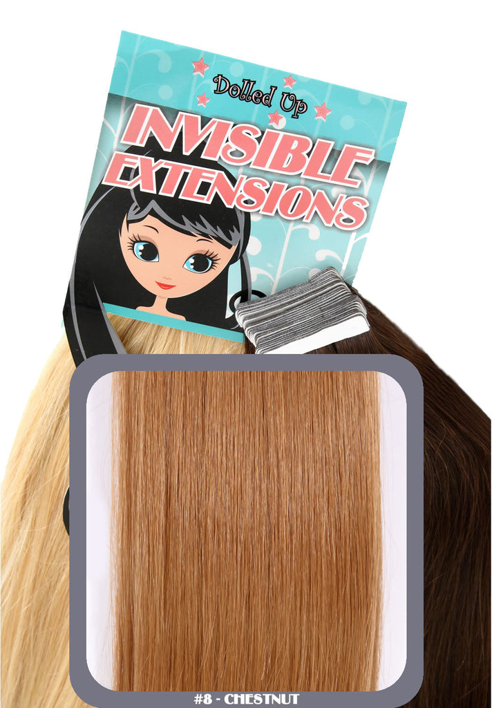"20"" Remy Human Hair Invisible Tape Extensions 75g in Chestnut Brown (#8)"