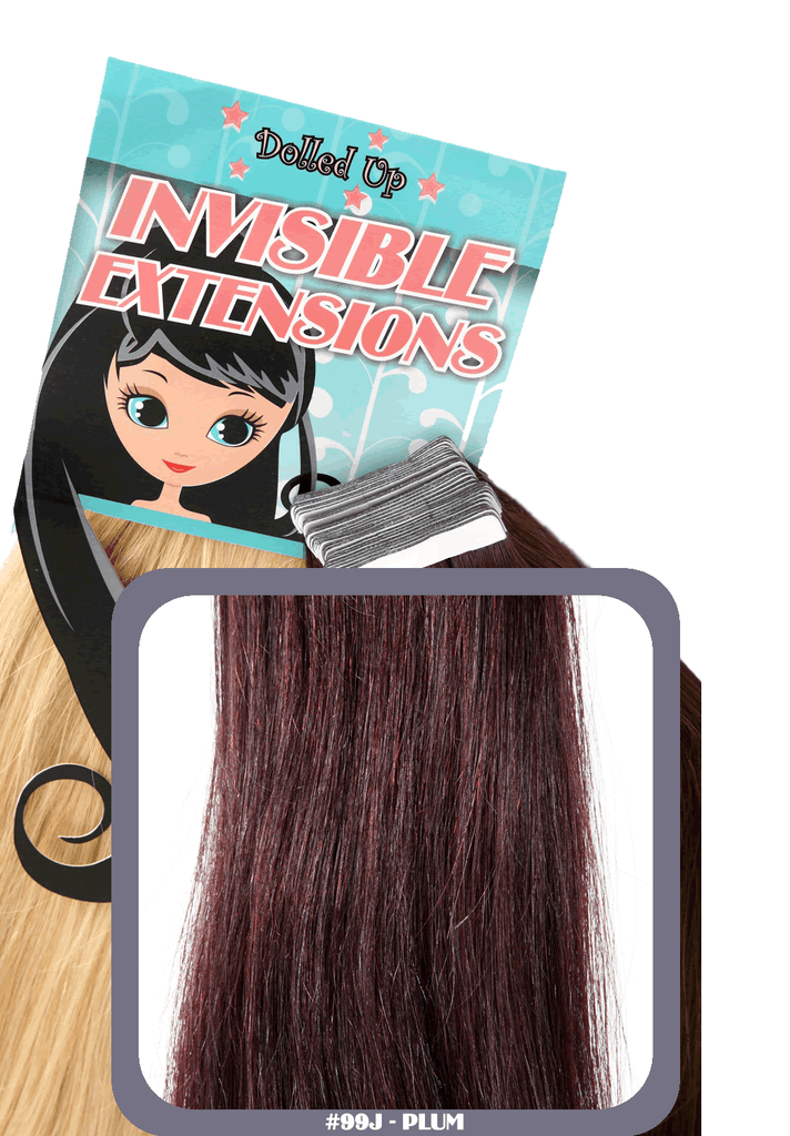 "18"" Remy Human Hair Invisible Tape Extensions 75g in Royal Plum (#99J)"