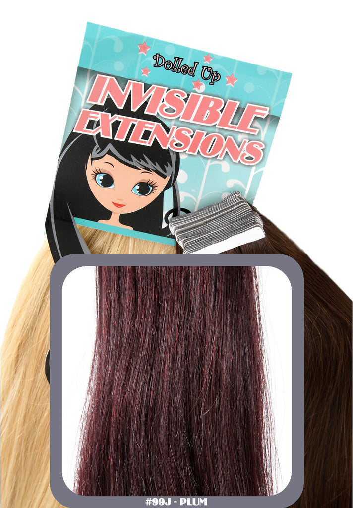 "20"" Remy Human Hair Invisible Tape Extensions 75g in Plum (#99J)"