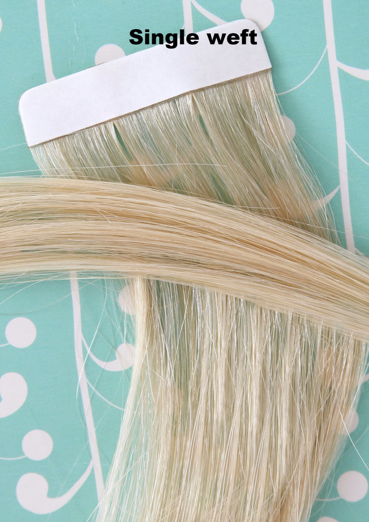 "16"" Remy Human Hair Invisible Tape Extensions 75g in Pale Golden Blonde (#16)"