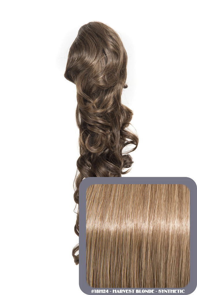 "Molly 22"" Volume-Boost Curly Synthetic Ponytail in #18H24 - Harvest Blonde"