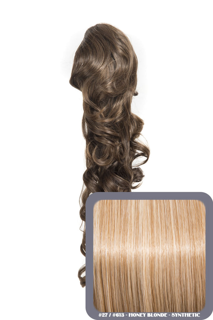 "Molly 22"" Volume-Boost Curly Synthetic Ponytail in #27/613 - Honey Blonde"