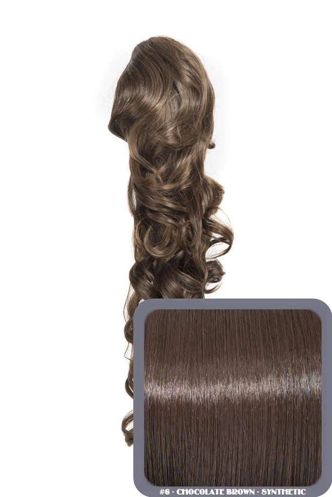 "Molly 22"" Volume-Boost Curly Synthetic Ponytail in #6 - Chocolate Brown"