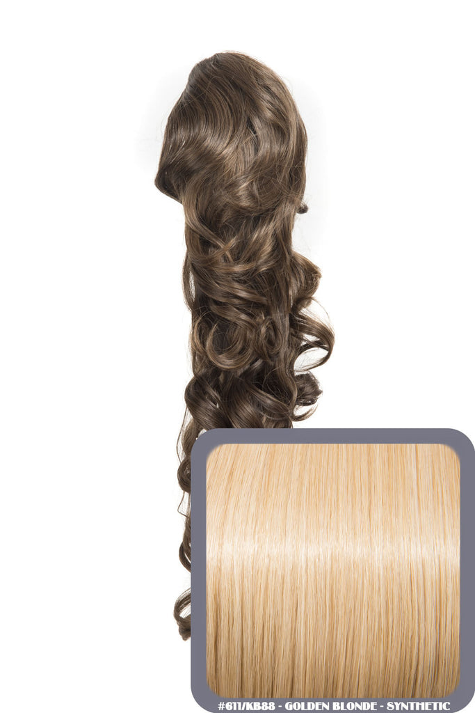 "Molly 22"" Volume-Boost Curly Synthetic Ponytail in #611/KB88 - Golden Blonde"