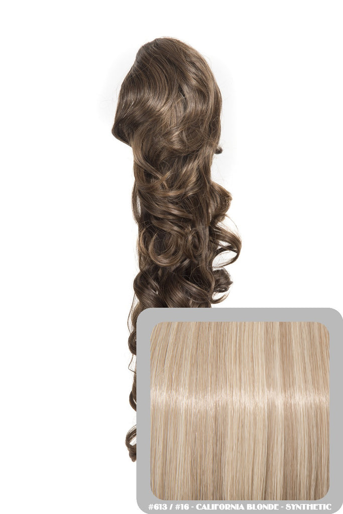 "Molly 22"" Volume-Boost Curly Synthetic Ponytail in #613/16 - California Blonde"