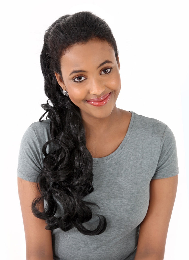 "Molly 22"" Volume-Boost Curly Synthetic Ponytail in #1B - Natural Black"