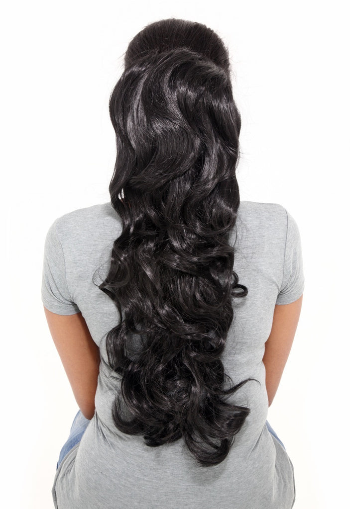"Molly 22"" Volume-Boost Curly Synthetic Ponytail in #26/30 - Mixed Auburn"