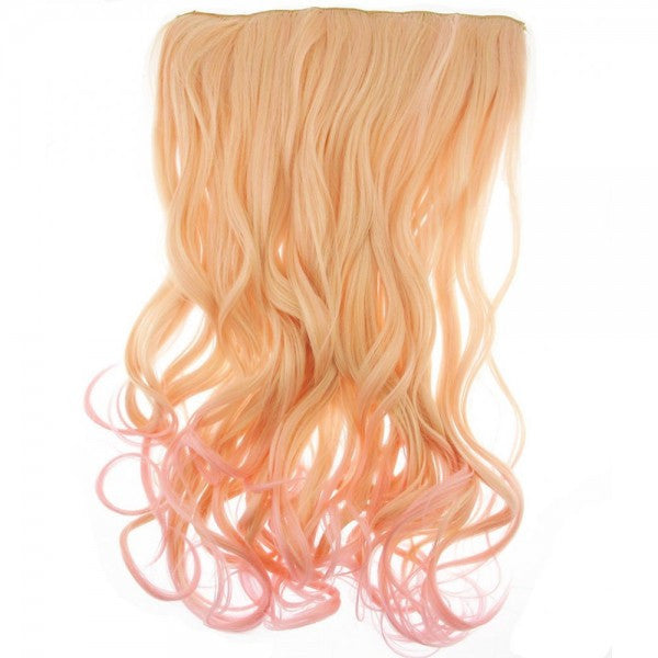 Curly Dip Dye One Piece Synthetic Clip In Hair Extension Blonde/Pink