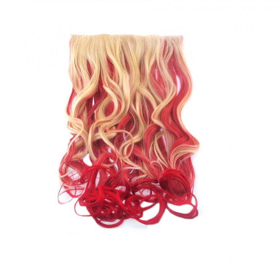 Curly Dip Dye One Piece Synthetic Clip In Hair Extension Blonde/Red