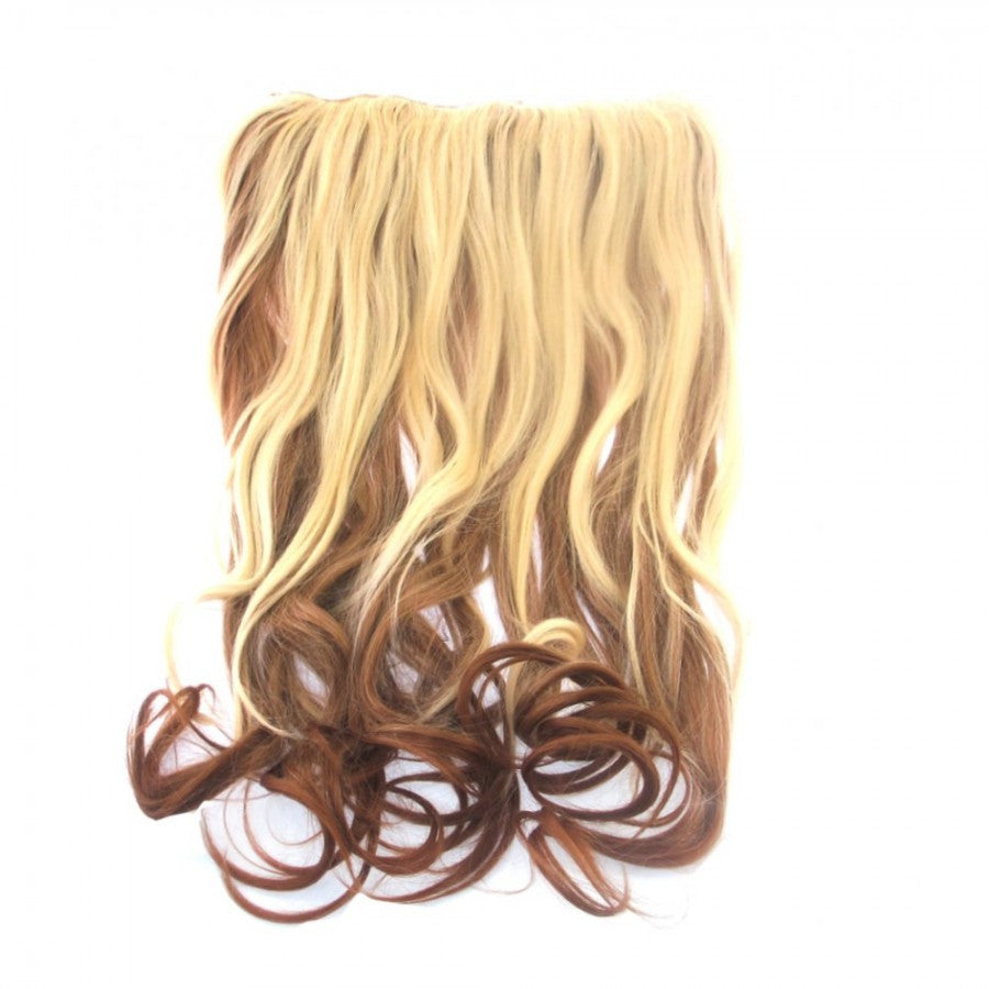Curly Dip Dye One Piece Synthetic Clip In Hair Extension Blonde/Brown