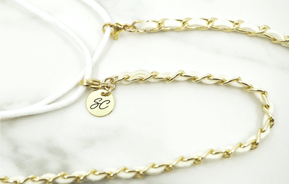 Classy C Mask Chain | White-suede