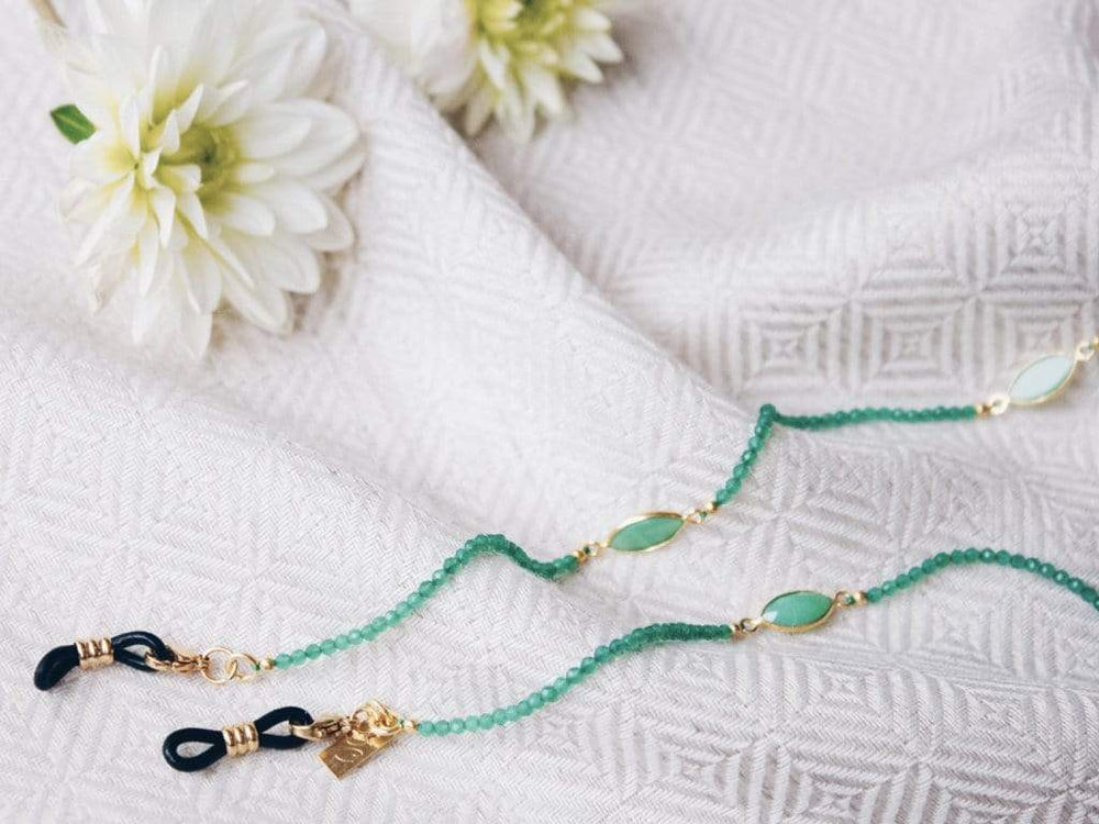 Green Onyx - Gold Sunglasses Chains - 24k gold plated - Stones of Confidence - Sunny Cords Sunglass Chain, Sunny Cords - Sunglass strap