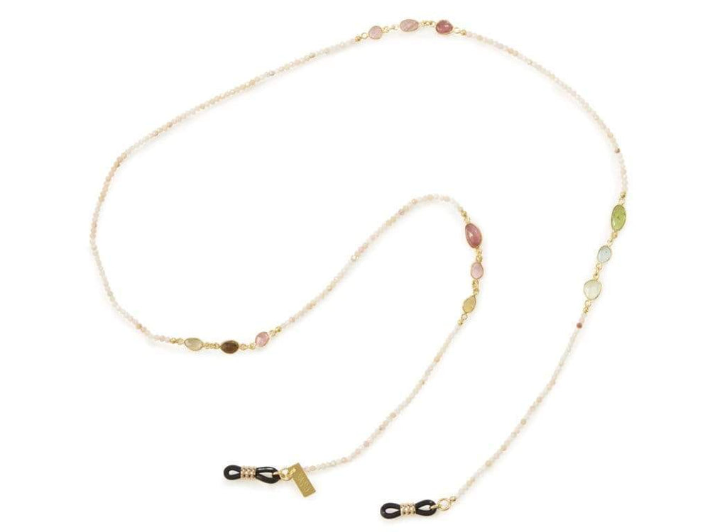 Pink Tourmaline - Gold Sunglasses Chains - 24k gold plated - Stones of Balance - Sunny Cords Sunglass Chain, Sunny Cords - Sunglass strap