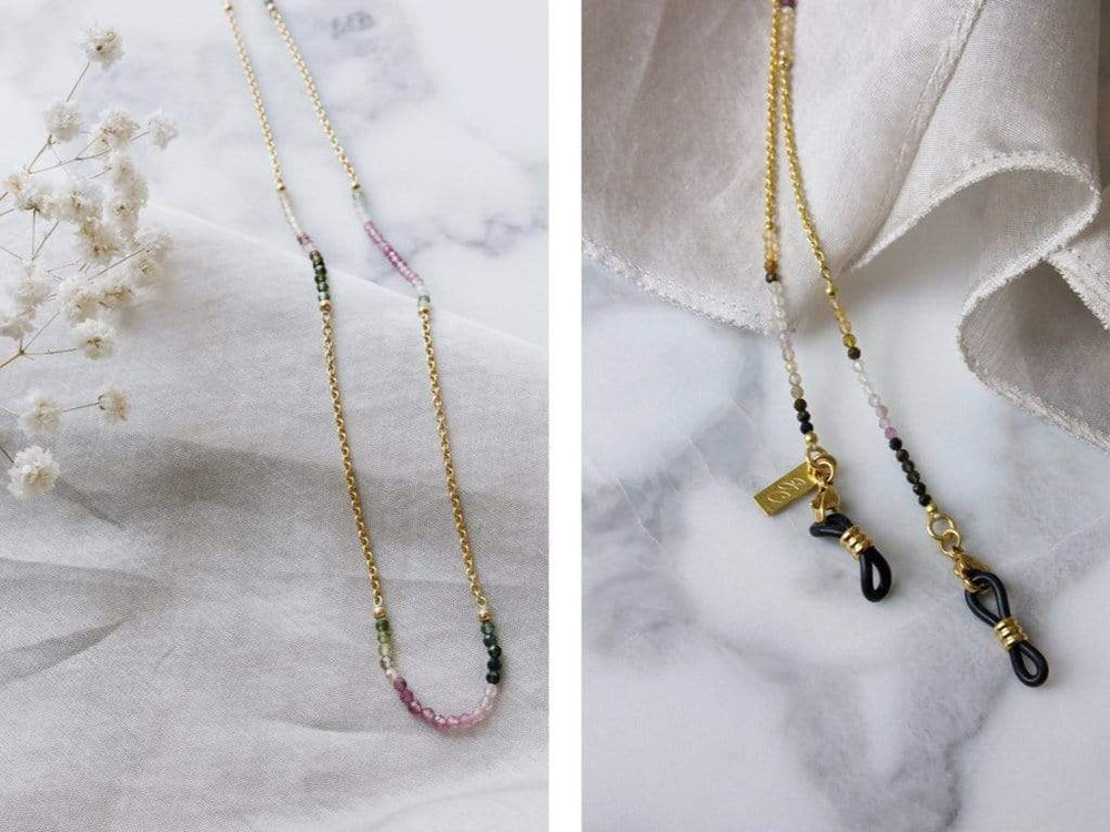 Rainbow Tourmaline - Gold Sunglasses Chains - 24k gold plated - Stones of Pure Energy - Sunny Cords Sunglass Chain, Sunny Cords - Sunglass strap