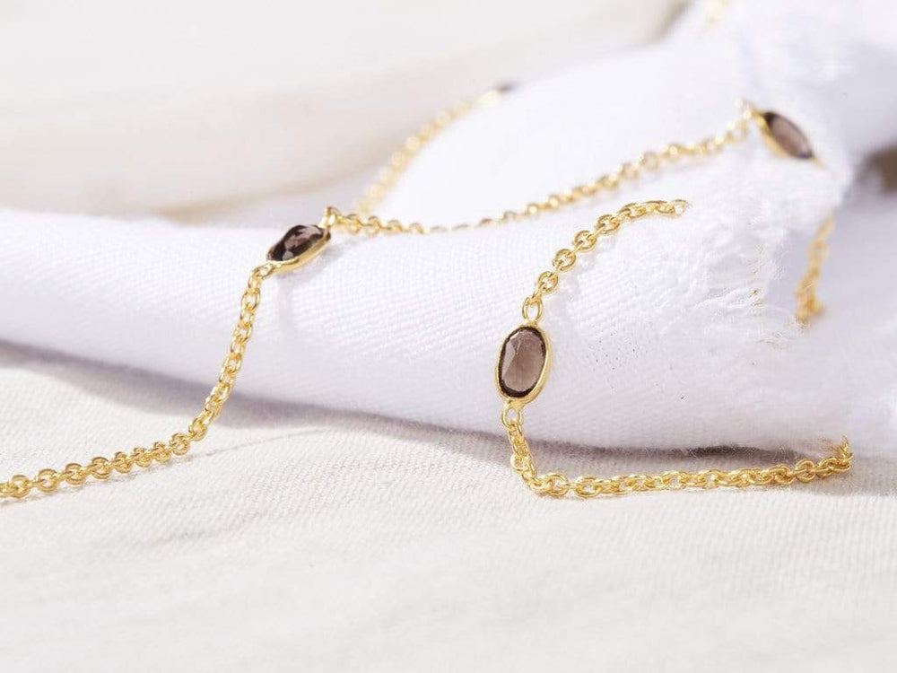 Smoky Quartz - Gold Sunglasses Chains - 24k gold plated - Stones of Grounding - Sunny Cords Sunglass Chain, Sunny Cords - Sunglass strap