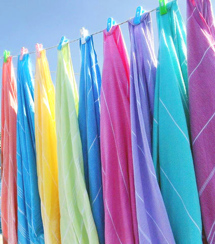 Hammam towels hanging on washing line
