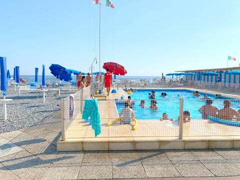 Swimming pool with hammam towel