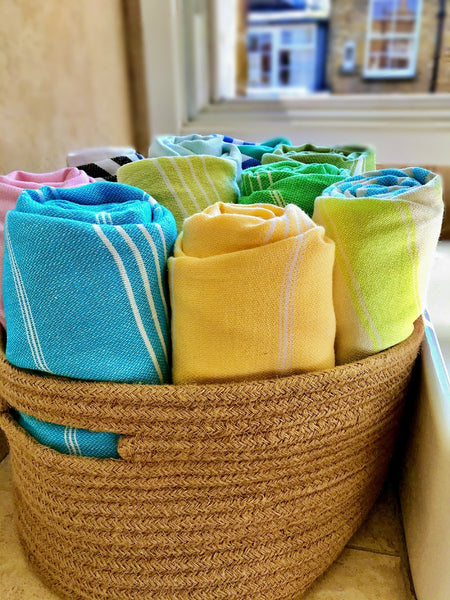 Hammam towels in the basket