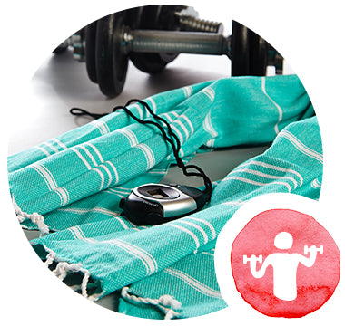turquoise hammam towel for gym bag