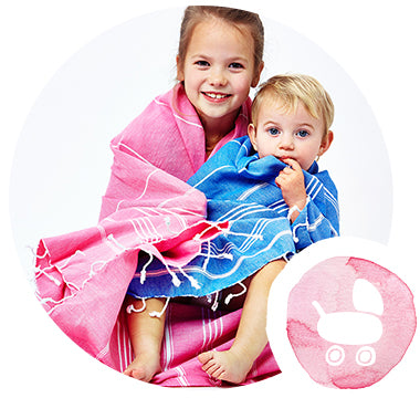 pink blue hammam towels for children