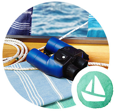 blue stripy hammam towels for sailing